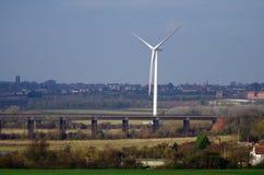 Wind Turbine. By a Railway Bridge Royalty Free Stock Photos