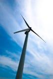 Wind turbine with rainbow ring stock photo