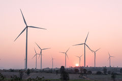 Wind turbine renewable energy at sunset Stock Photography