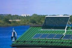 Wind turbine on the roof Stock Image