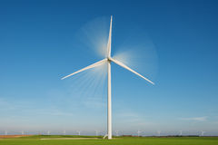 Wind turbine with rotation effect Royalty Free Stock Image