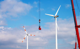 Wind Turbine Service Royalty Free Stock Image