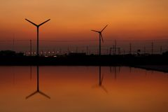 Wind turbine silhouette Royalty Free Stock Photos