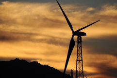 Wind turbine Silhouette Stock Images