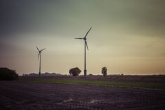 Wind turbine silhouette Stock Photography