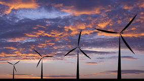 Wind turbine silhouette sunset or sunrise Stock Photography