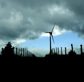 Wind turbine silhuette Royalty Free Stock Image
