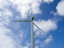 Wind turbine on the sky background, close up, bottom-up view Stock Image