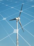 Wind turbine and solar panel Stock Photos