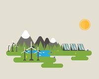Wind turbine and solar panel. Flat vector design of green energy systems like solar panel and wind turbine near the mountains, lake and forest royalty free illustration