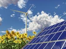 Wind turbine, solar panel and sunflowers. Computer generated 3D illustration with wind turbine, solar panel and sunflowers Royalty Free Stock Photo