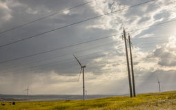 Wind turbine in the steppes of Donbass. The big wind generator installed in the steppes of Donbass develops the electric power Royalty Free Stock Photo