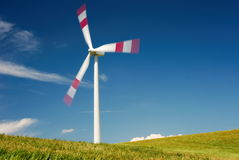 Wind turbine in summer Stock Photos