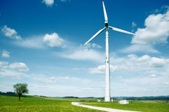 Wind Turbine in a summer landscape Royalty Free Stock Image