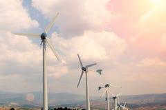 Wind turbine on the summit. Royalty Free Stock Photos