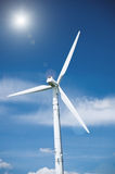 Wind Turbine with Sun Stock Images