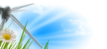 Wind turbine, sun and flower Royalty Free Stock Photography