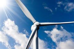 Wind Turbine with Sun Rays Stock Photos