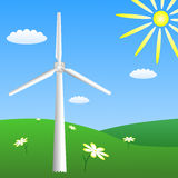 Wind turbine on sunny meadow. Vector EPS10 Royalty Free Stock Images