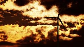 Wind turbine at sunrise 4K stock video