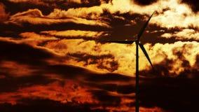Wind Turbine at sunrise 4K stock video footage