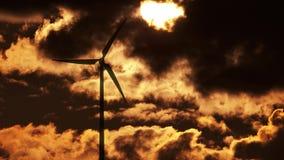 Wind Turbine at sunrise 4K stock footage