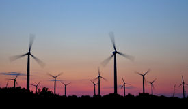 Wind turbine at sunset Royalty Free Stock Photography