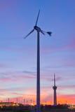 Wind turbine on sunset  background Royalty Free Stock Photography
