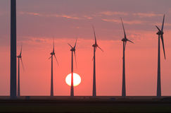 Wind turbine sunset Stock Image