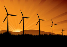 Wind turbine in the sunset Royalty Free Stock Image