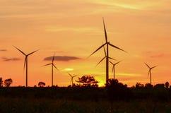 Wind turbine at sunset Stock Image