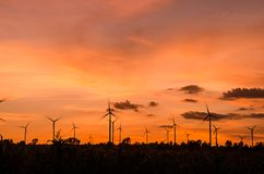 Wind turbine at sunset Royalty Free Stock Photo