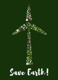 Wind turbine symbol made up of ecology icons Stock Image