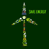 Wind turbine symbol with saving energy flat icons Royalty Free Stock Photo