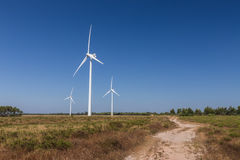 Wind turbine system, accumulate energy. Royalty Free Stock Images