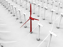 Wind turbine target in line Royalty Free Stock Photo