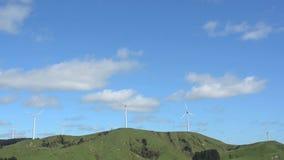 Wind turbine in Te Apiti Wind Farm New Zealand stock video footage
