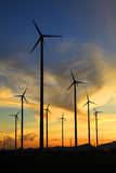 Wind turbine in thailand. Silhouette of wind power station on sunrise Stock Photo