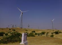Wind turbine in Thar desert stock image