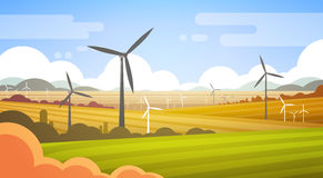 Wind Turbine Tower In Field Blue Sky Alternative Energy Source Technology. Flat Vector Illustration Stock Photo