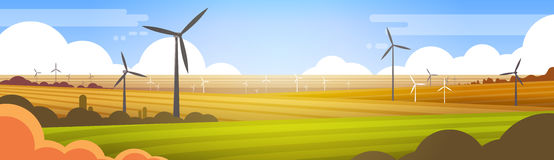 Wind Turbine Tower In Field Blue Sky Alternative Energy Source Technology. Flat Vector Illustration Royalty Free Stock Photo
