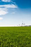 Wind turbine. Wind turbin in a green field Stock Image