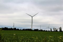 Wind Turbine. S in Chateaugay, New York in a rural community Royalty Free Stock Photo