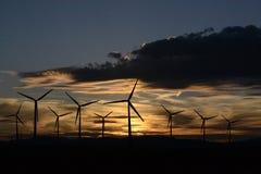 Wind turbine at twilight Stock Photo