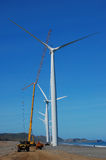 Wind turbine under maintenance Stock Image