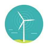 Wind Turbine Vector Illustration In Flat Design. Wind turbine vector.  Flat design. Alternative energy technology and environmental protection. Wind moves Royalty Free Stock Photo