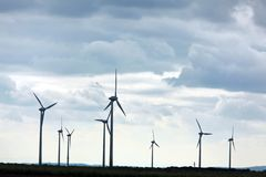 Wind turbine in a wind farm Royalty Free Stock Photos