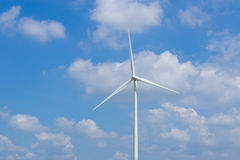 Wind Turbine in wind farm with sky Stock Images
