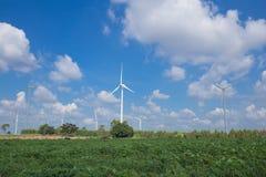 Wind Turbine in wind farm with sky Stock Photo