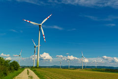 Wind turbine of a wind power plant for electricity Stock Photo